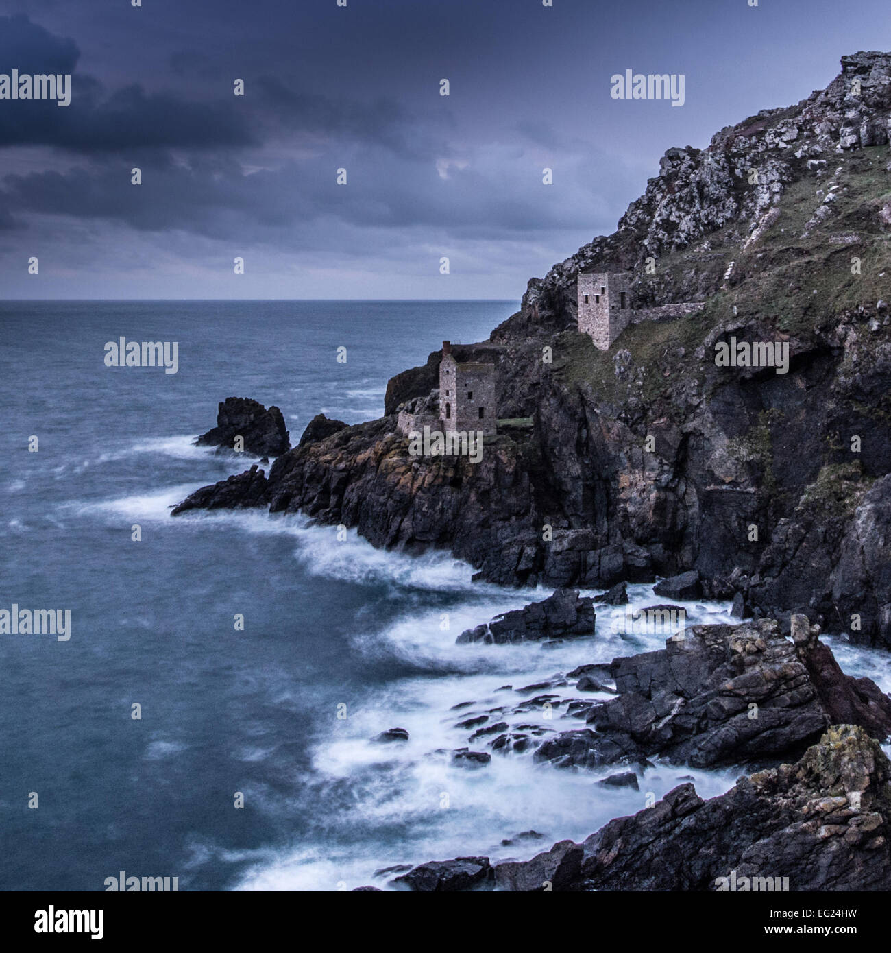 North Cornwall seascape of sea, cost and tin mines - Stock Image
