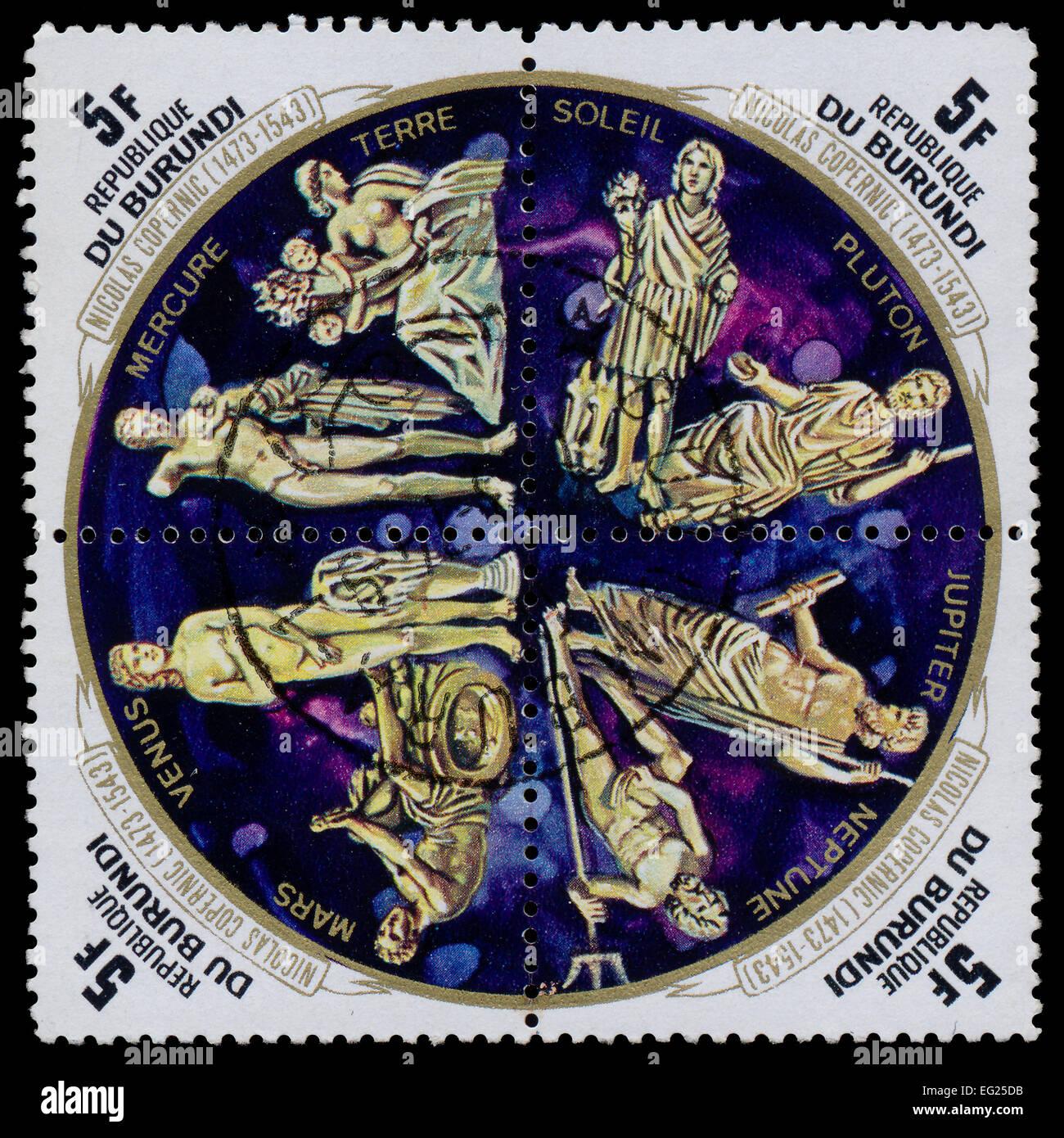 REPUBLIC OF BURUNDI - CIRCA 1973: Postal stamp Republic of Burundi circa 1973. Four stamps of postages devoted to Stock Photo