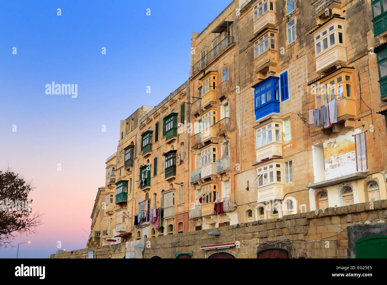 Street in old town, La Valletta, Malta - Stock Image
