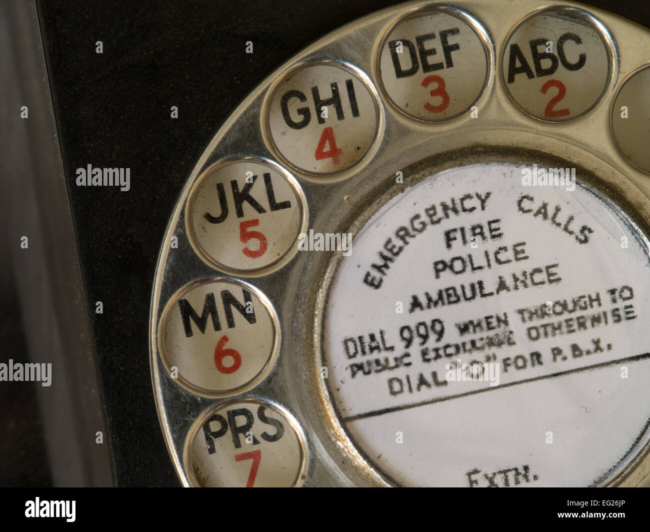 black bakelite telephone - Stock Image