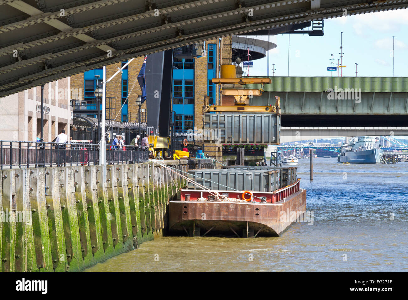 Walbrook Wharf waste containers waiting to be transferred down river, City of London - Stock Image