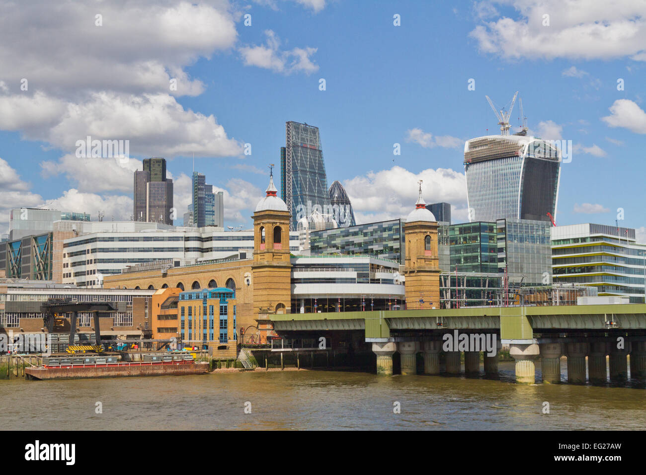 Cannon Street Station and the City of London seen from the River Thames - Stock Image