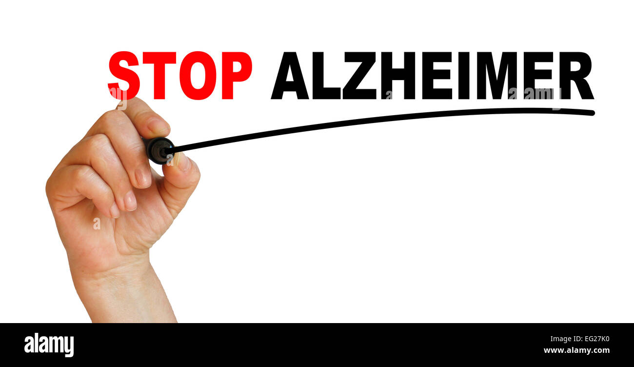 Hand underlining STOP ALZHEIMER with red marker - Stock Image