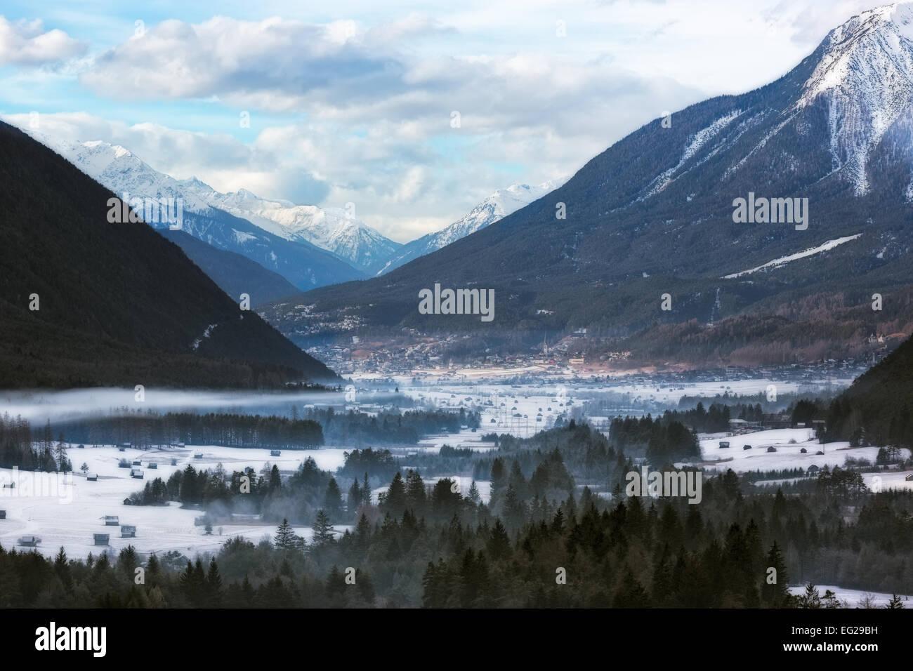 Wintery valley in Tirol, Austrian Alps - Stock Image