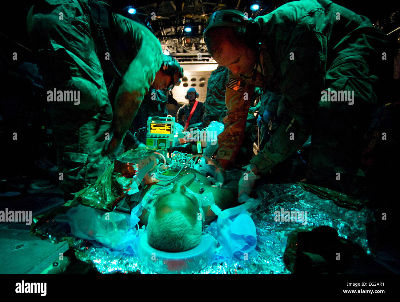 U.S. Air Force Master Sgt. Kevin Preston, an Aeromedical Evacuation Technician with the 651st Expeditionary Aeromedical - Stock Image
