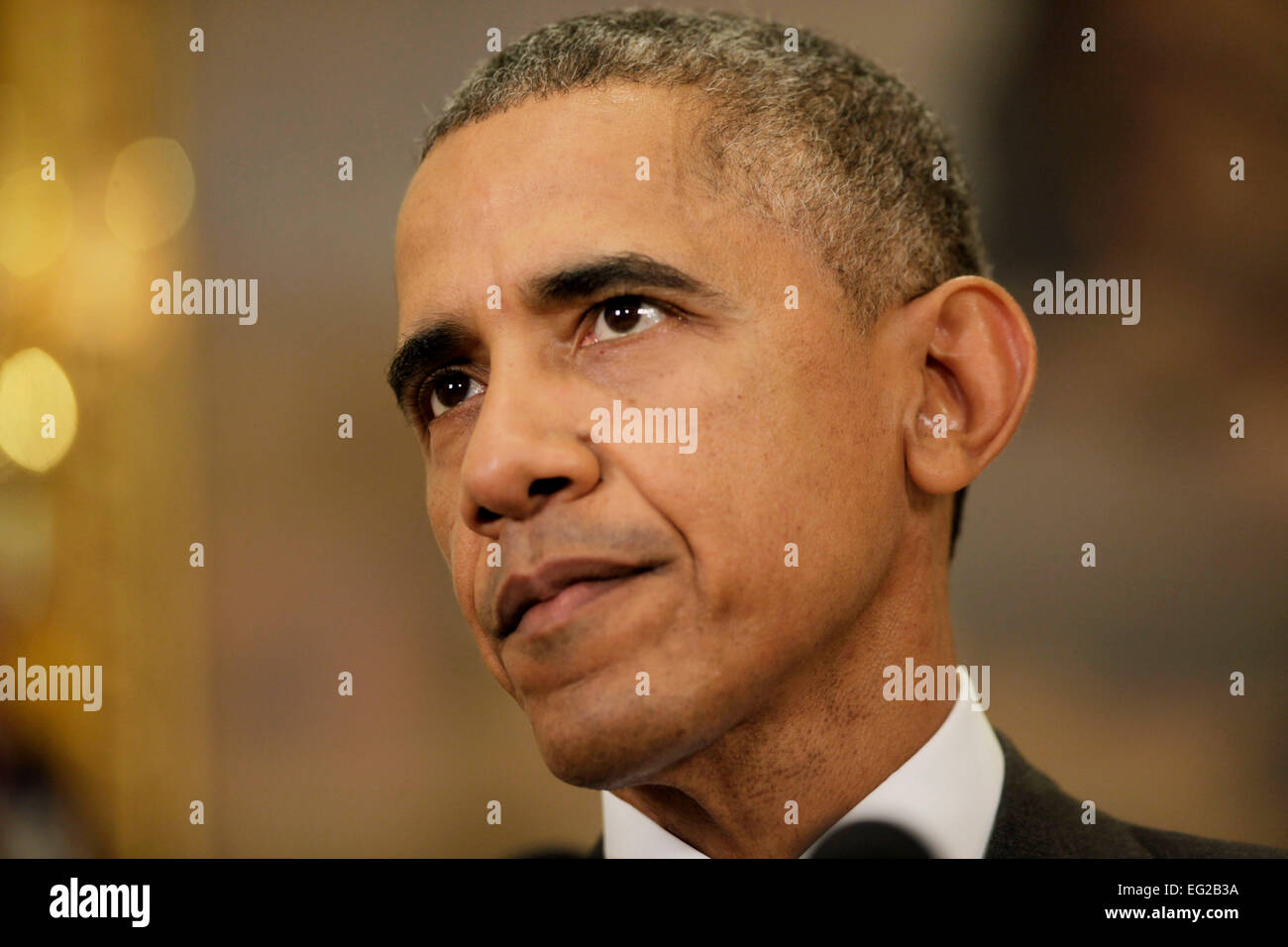 United States President Barack Obama (C) delivers a statement on the legislation he sent to Congress to authorize - Stock Image