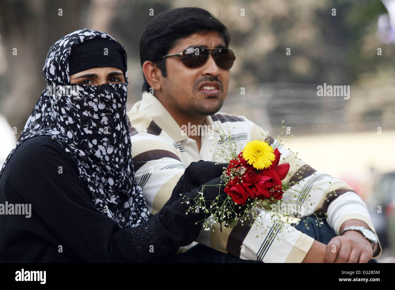Dhaka bangladesh 14th february 2015 a young couple on valentines day at shohrawardi uddan in dhaka