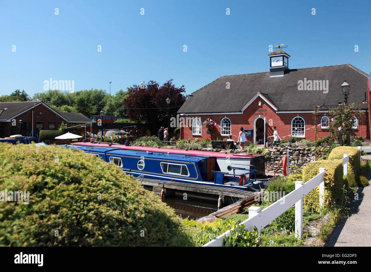 Moored narrowboats on the Trent and Mersey Canal at Shobnall Marina, Burton on Trent, Derbyshire - Stock Image