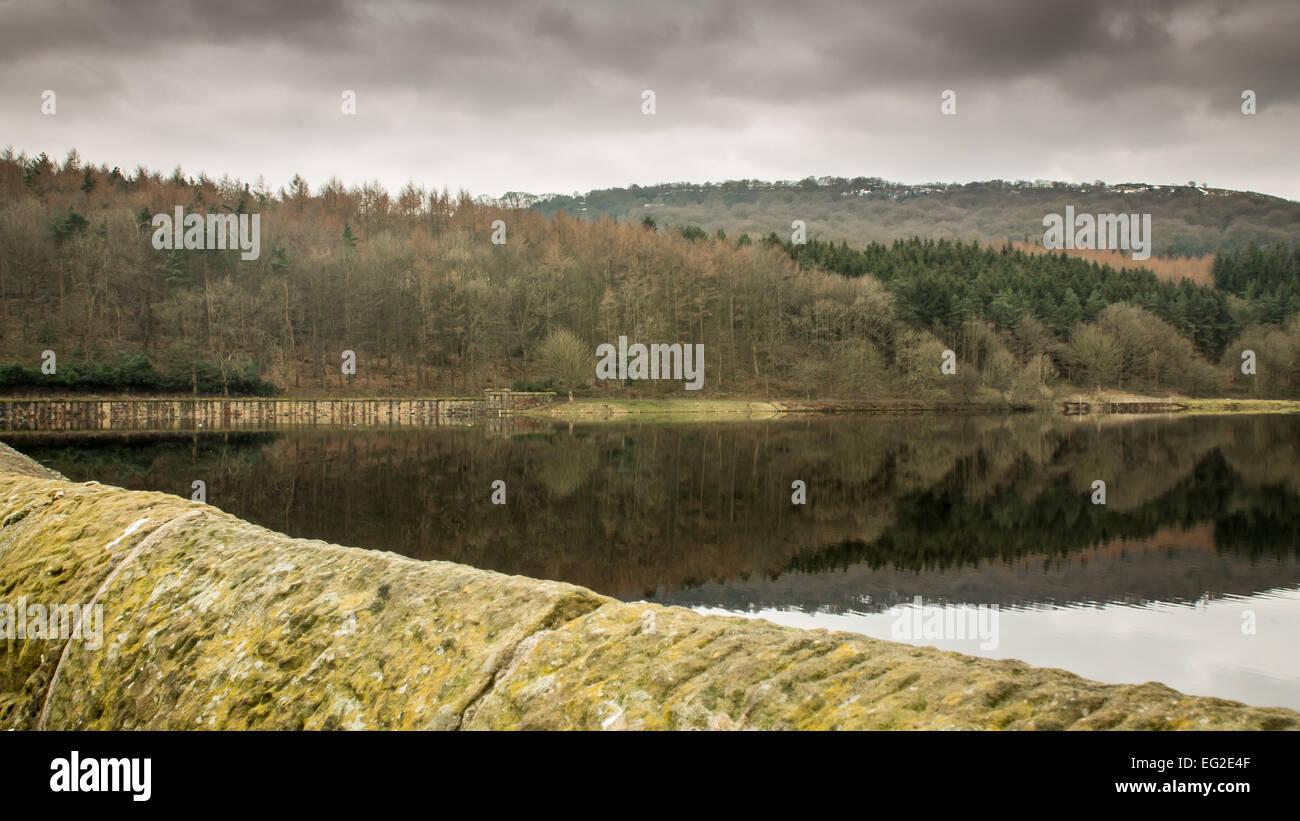 Dark Sky Over More Hall Reservoir - Stock Image