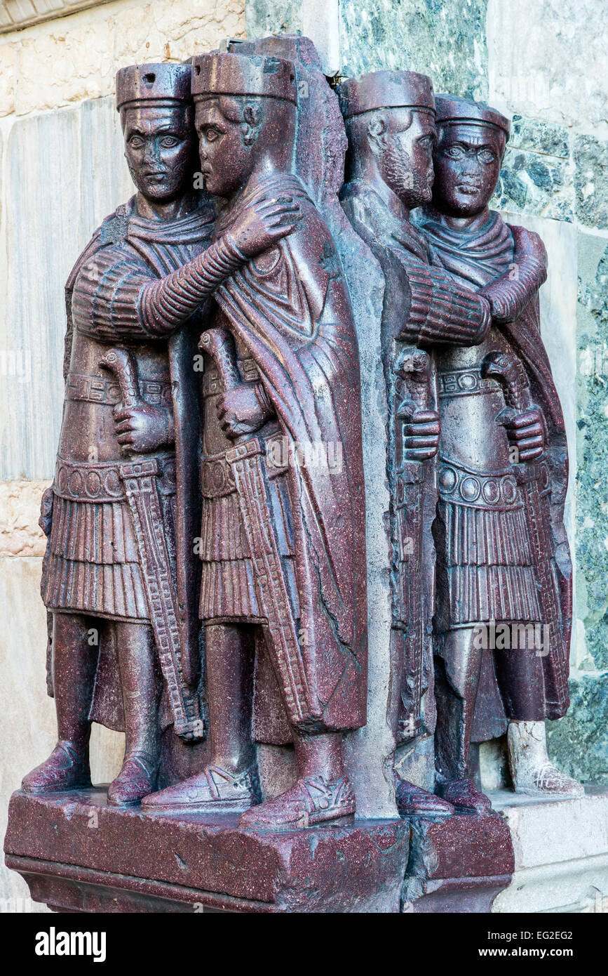 The Four Tetrarchs, a sculpture group of four Roman emperors, Doge's Palace or Palazzo Ducale, Venice, Veneto, Italy Stock Photo