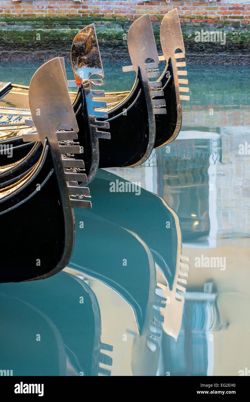 Gondolas bows, Venice, Veneto, Italy - Stock Image