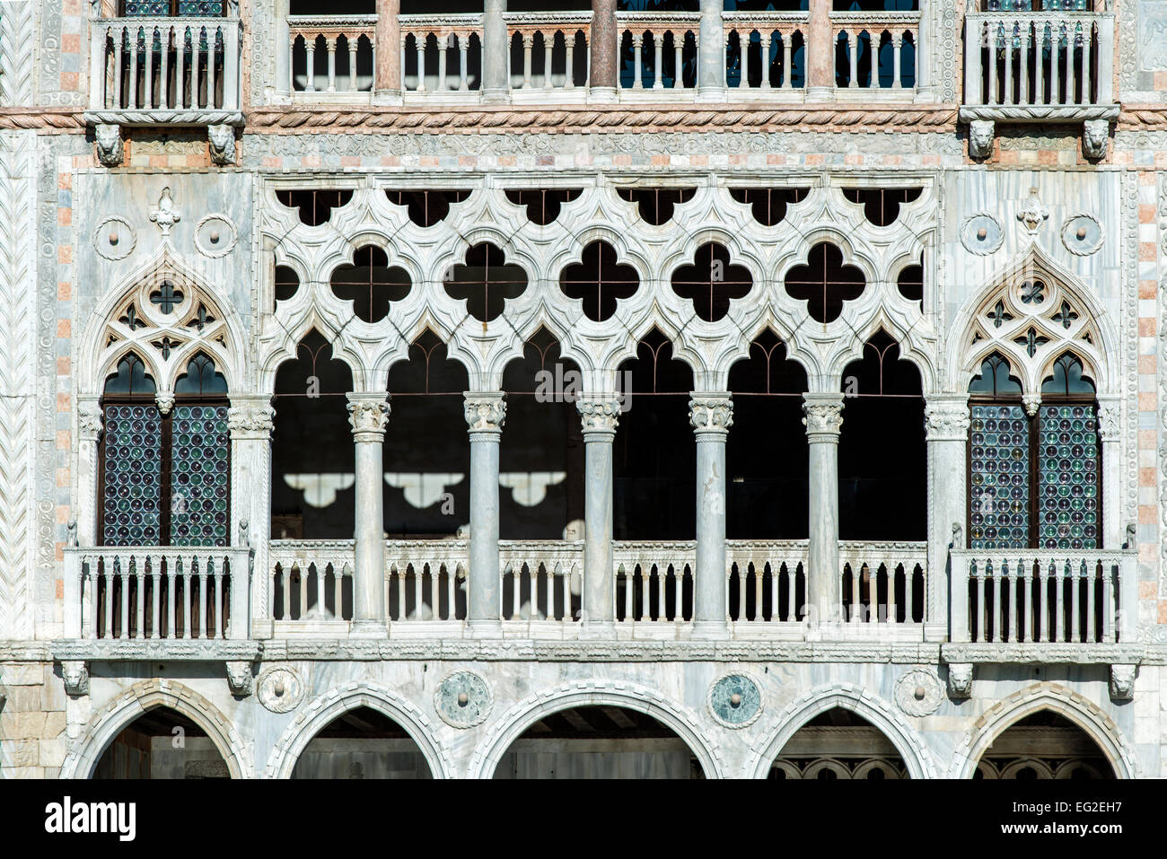 Detail of Ca' d'Oro palace or Palazzo Santa Sofia facade overlooking the Grand Canal, Venice, Veneto, Italy - Stock Image