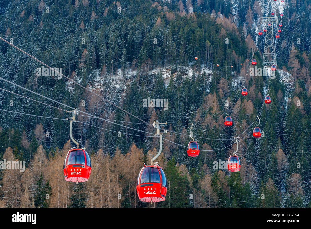 Seiser Alm or Alpe di Siusi gondola lift, Ortisei or St Ulrich, Val Gardena, Alto Adige - South Tyrol, Italy - Stock Image