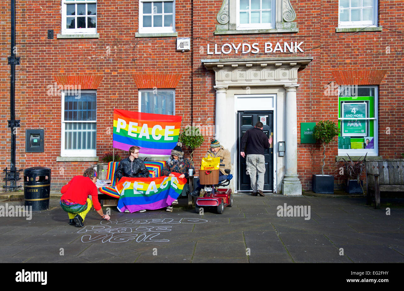 World Peace vigil, in front of Lloyds Bank,  in Petersfield, Hampshire, England UK - Stock Image