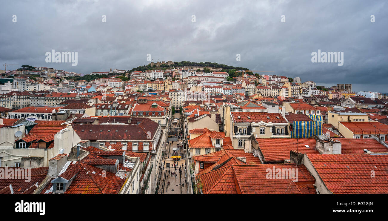Portugal, Lisbon . From the top of the famous Santa Justa Elevator opens the  panoramic view of the whole of the Stock Photo
