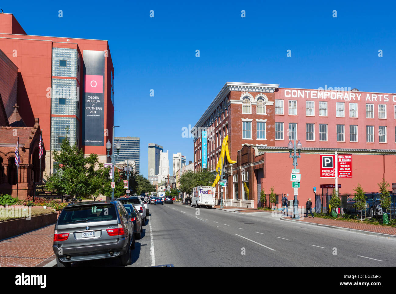 Contemporary Arts Center and Ogden Museum of Southern Art on Camp Street in downtown New Orleans, Lousiana, USA - Stock Image