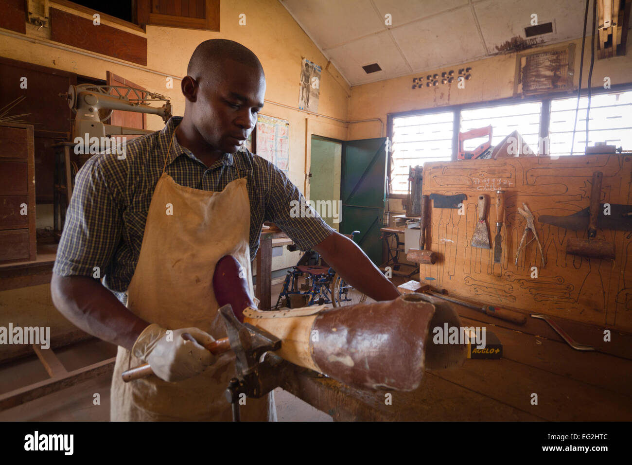 Manufactures prosthesis close to General hospital of Bangui ,Central African Republic ,Africa - Stock Image