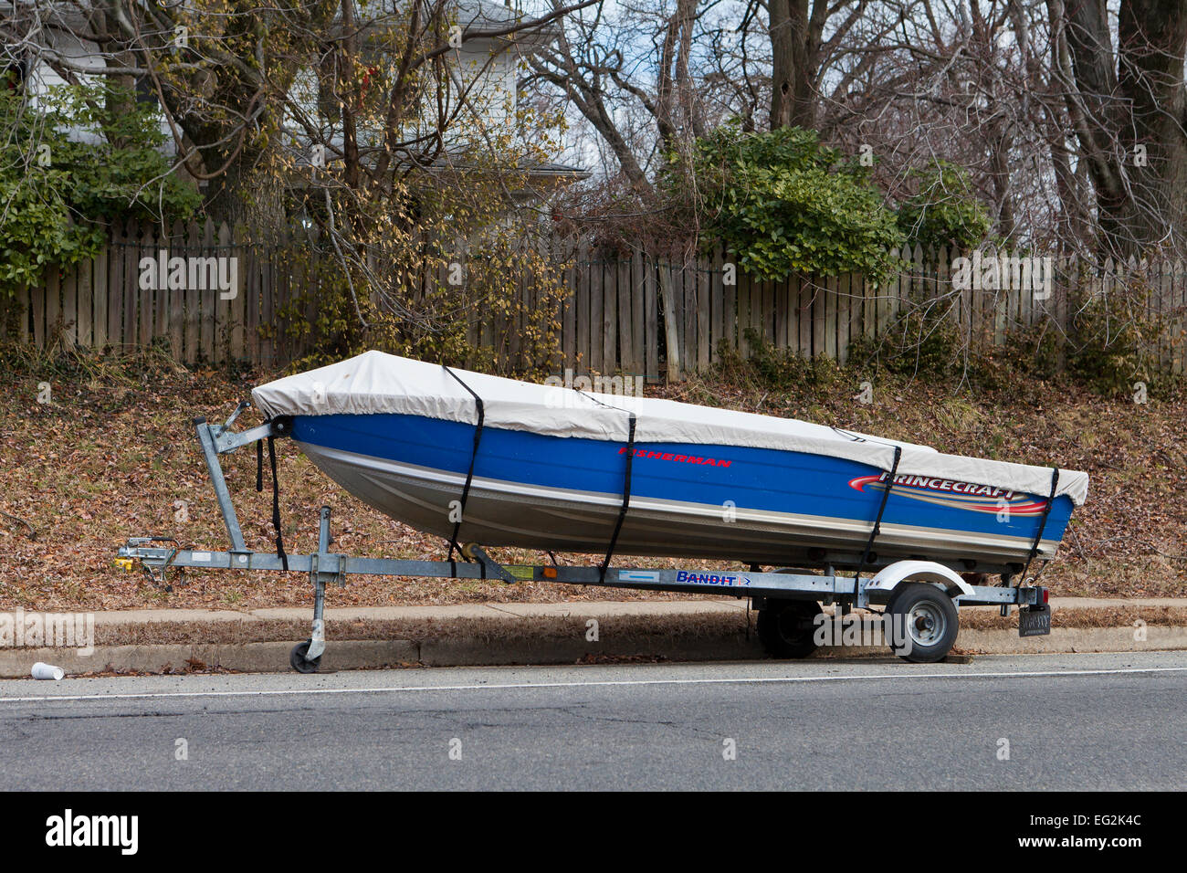 Sportsman fishing boat on trailer - USA - Stock Image
