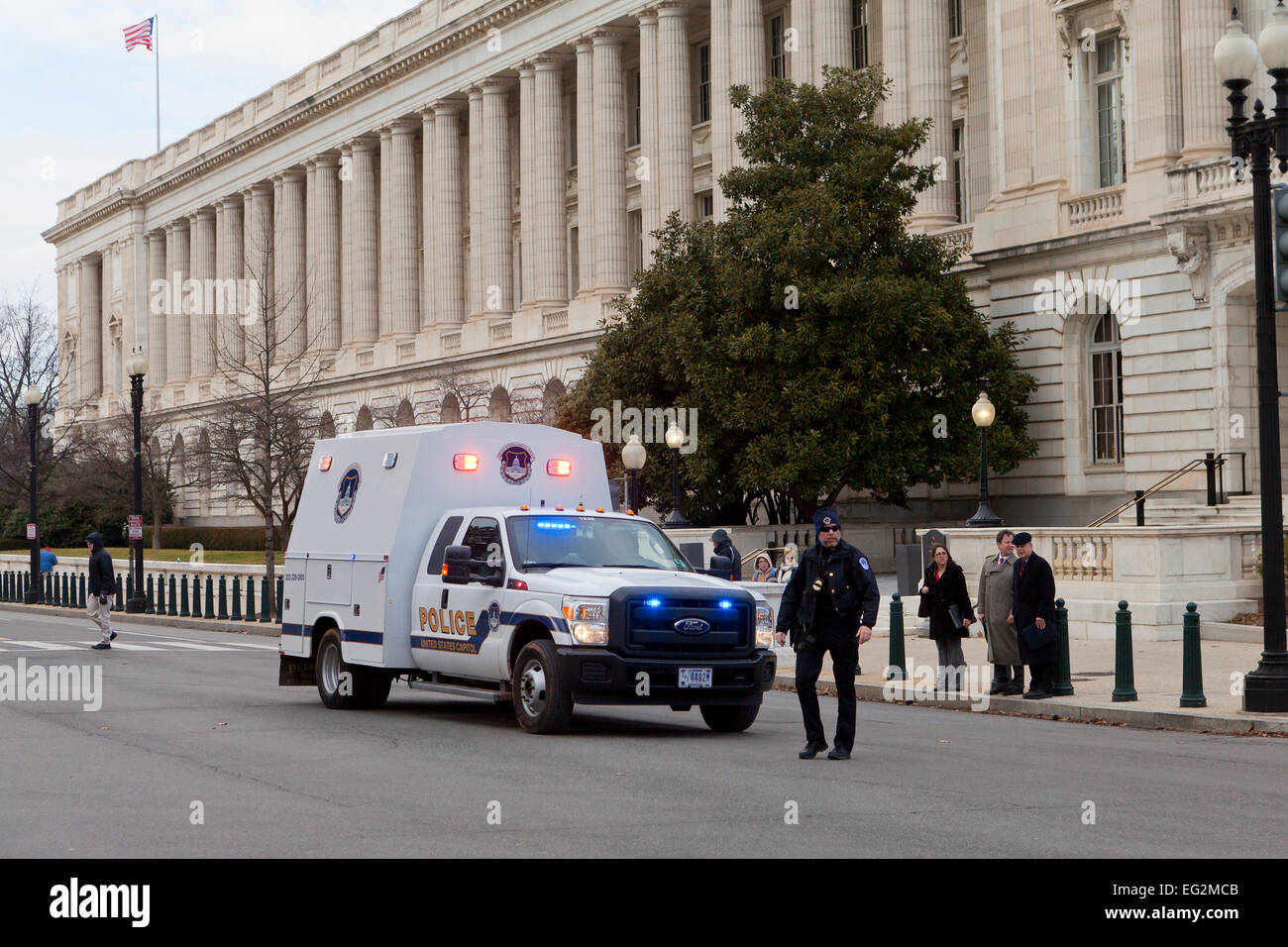 US Capitol Police stopping traffic on Capitol Hill - Washington, DC USA - Stock Image