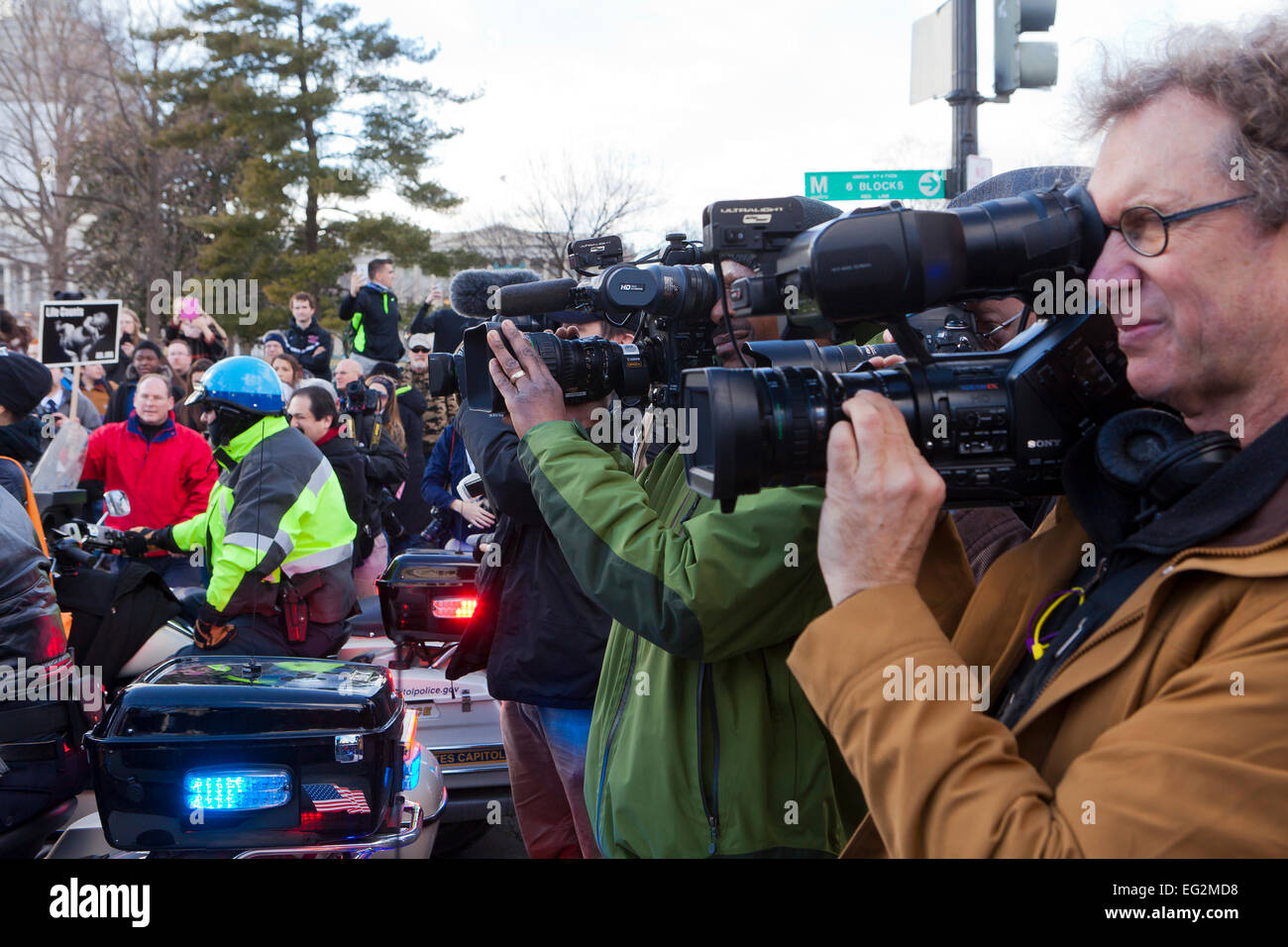 News cameraman at a protest - Washington, DC USA - Stock Image