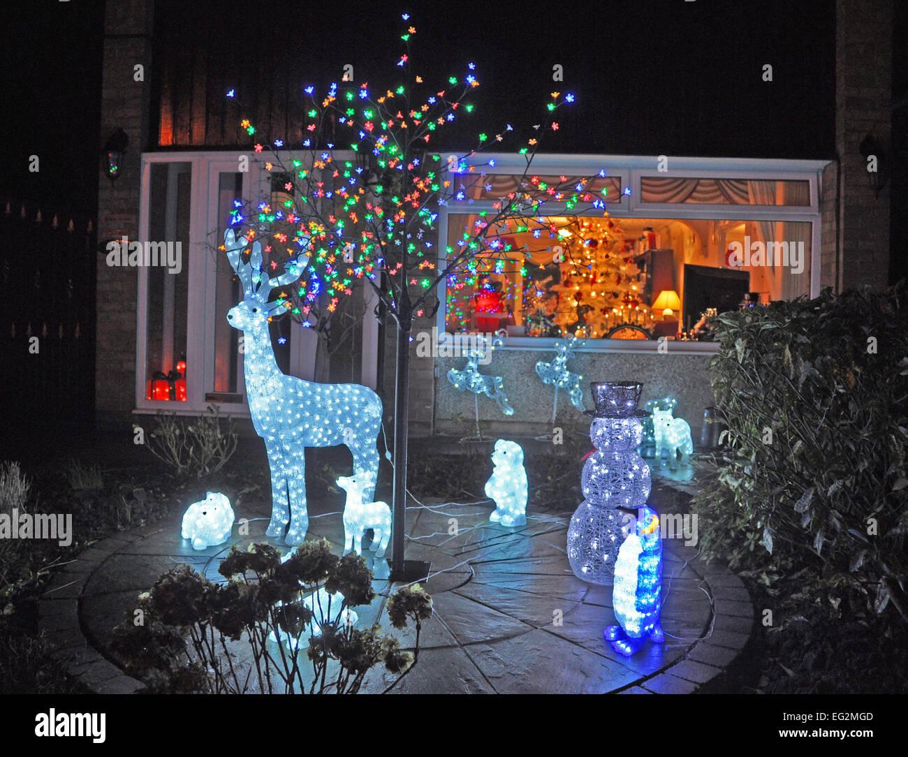 Christmas Decorations Outside Suburban House England