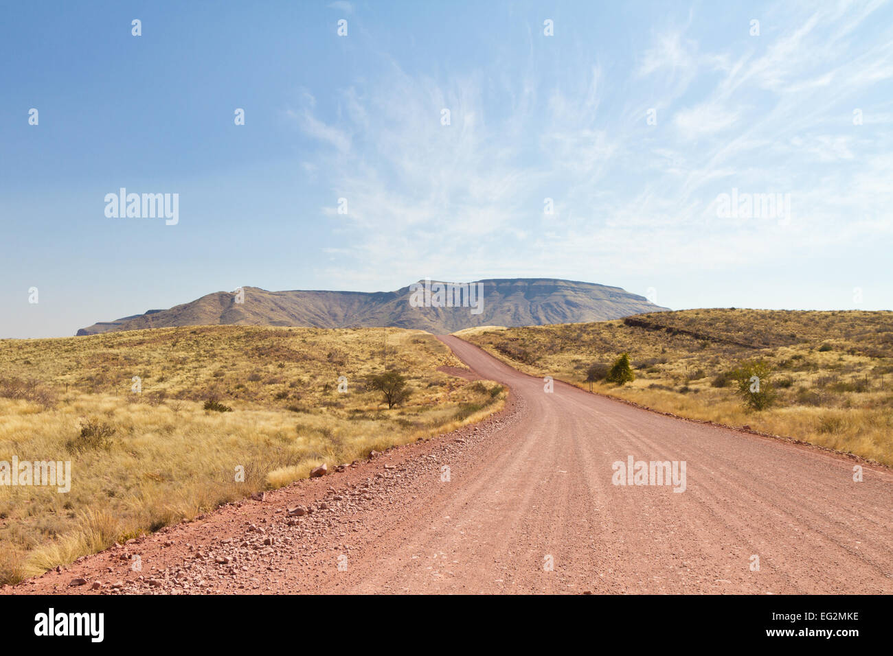 Gravel road in Namibia, Tsaris pass - Stock Image