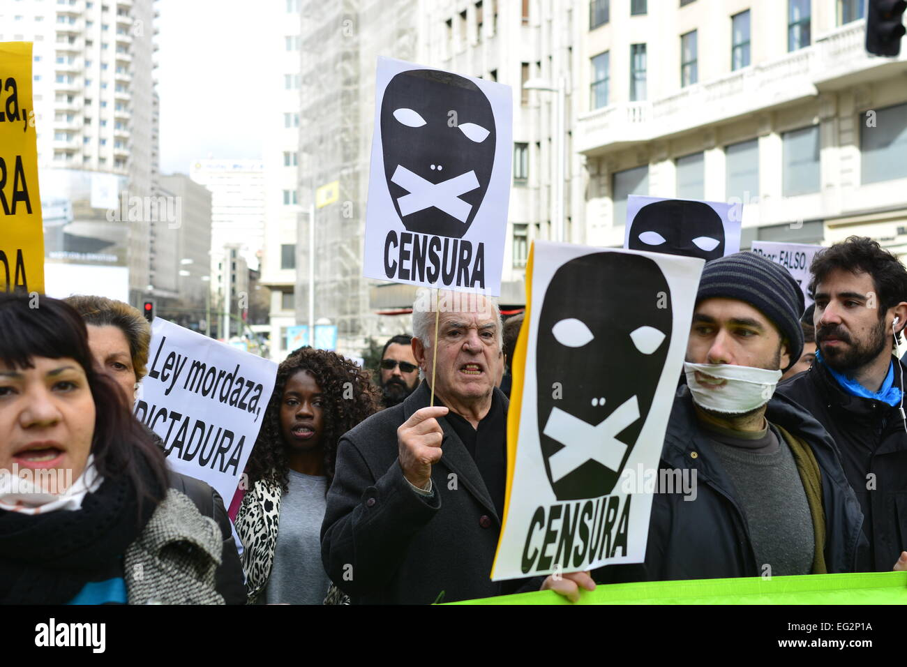 People protesting against Gag Law (Citizen Security Law) during a demonstration in Madrid. 14th Feb. 2015. - Stock Image