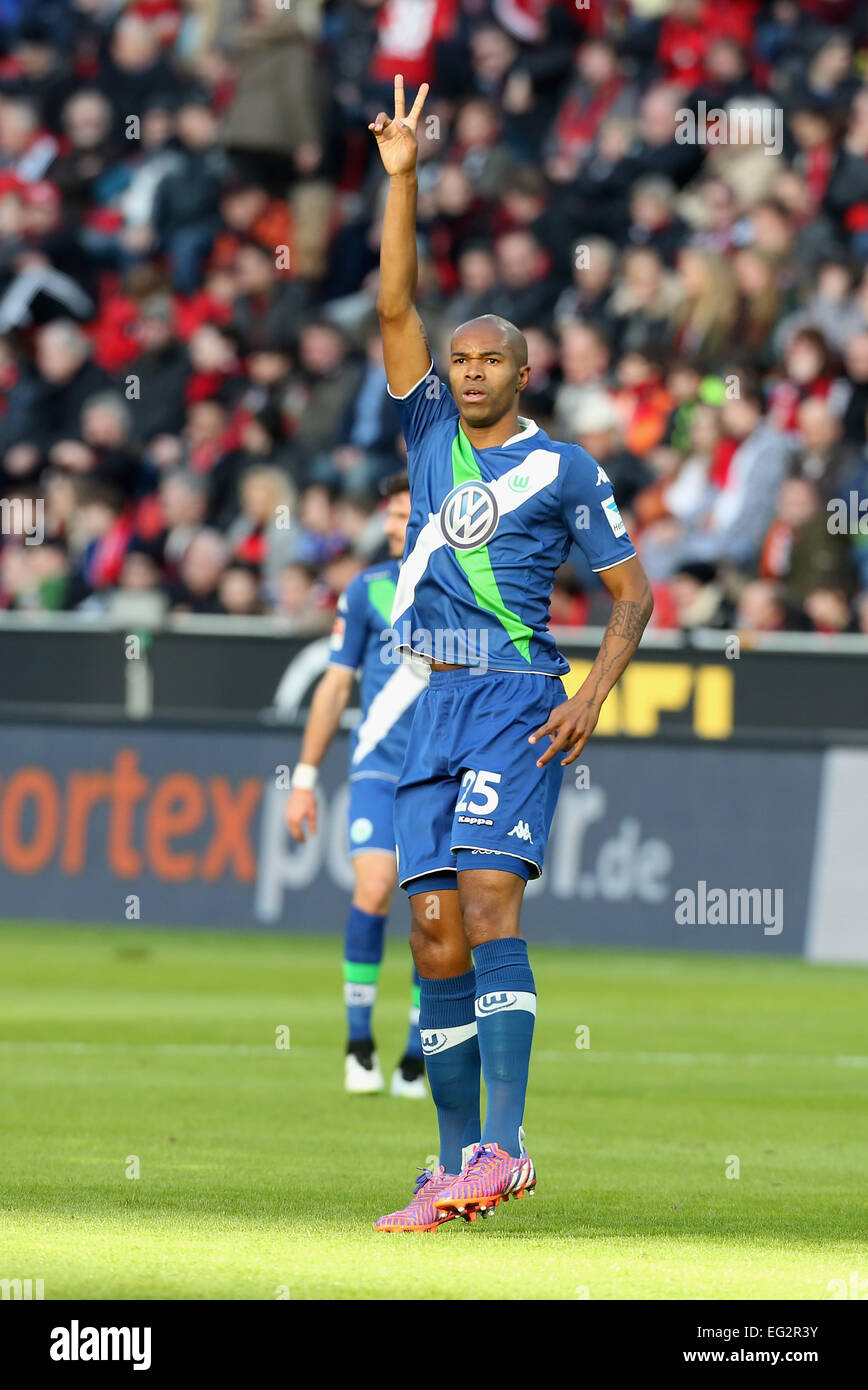 Leverkusen, Germany, soccer, Bundesliga, 14.02.2015, Bayer Leverkusen vs VfL Wolfsburg: Naldo (Wolfsburg) lifts - Stock Image