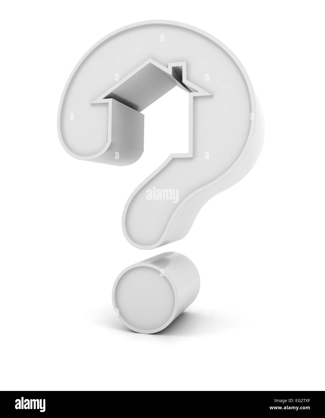 Question mark in the shape of a house - Stock Image