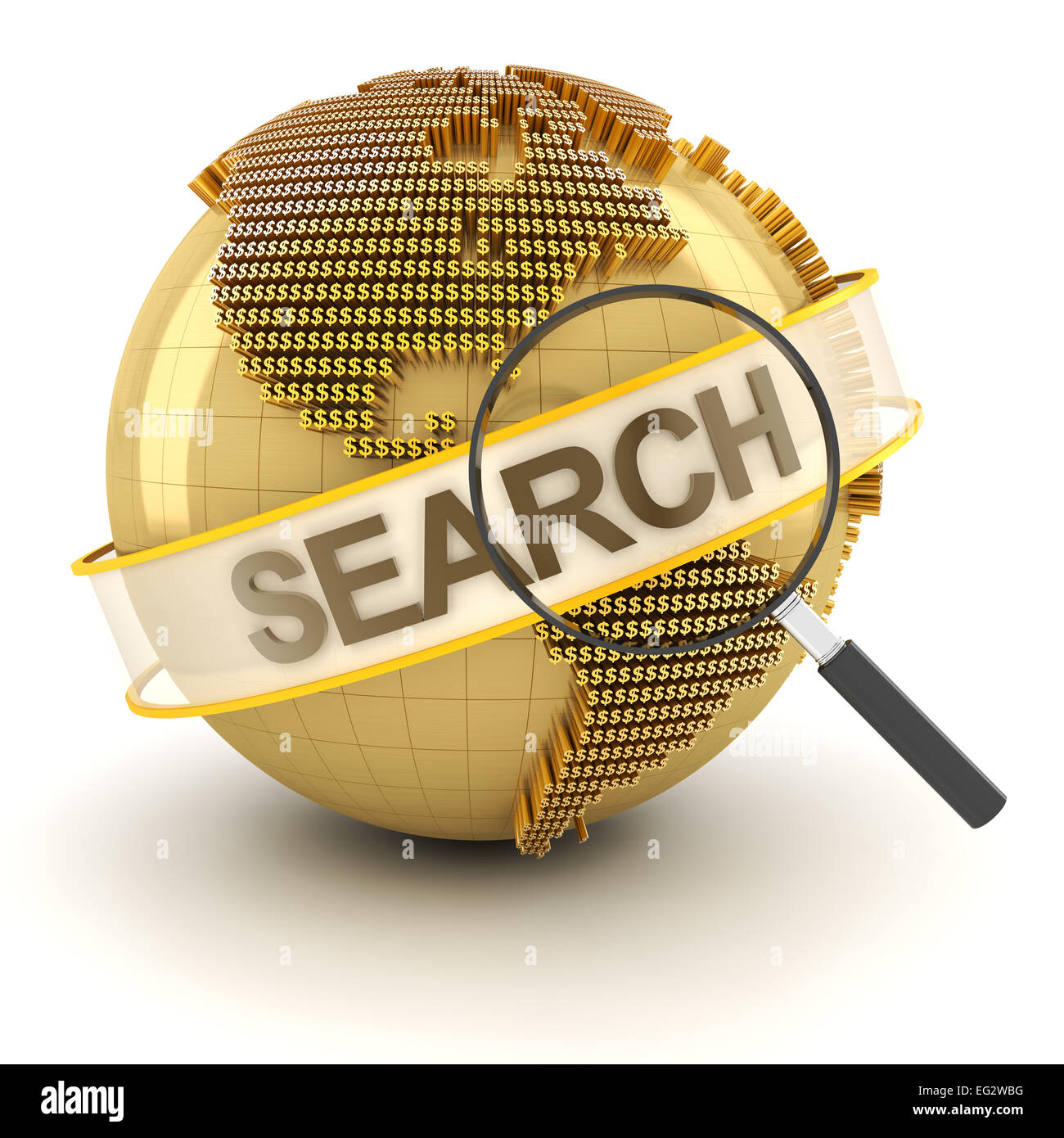 Search for global investment opportunity, 3d render - Stock Image