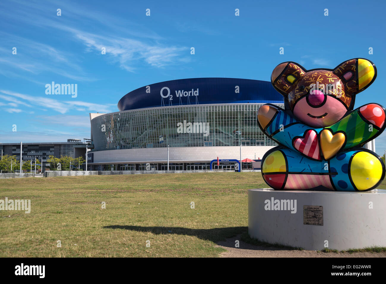 O2 World building now  Mercedes-Benz Arena and fanny colorful sculpture of Bear in front, Berlin, Capital of Germany, - Stock Image