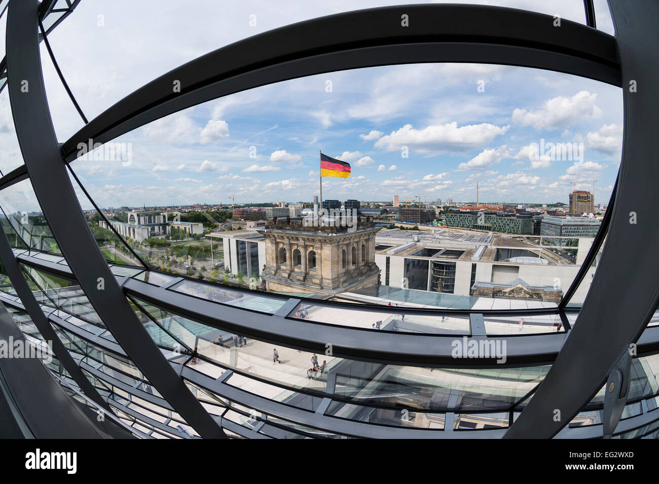 View on Berlin from  the dome of the Reichstag , Berlin, Capital of Germany, Europe. - Stock Image