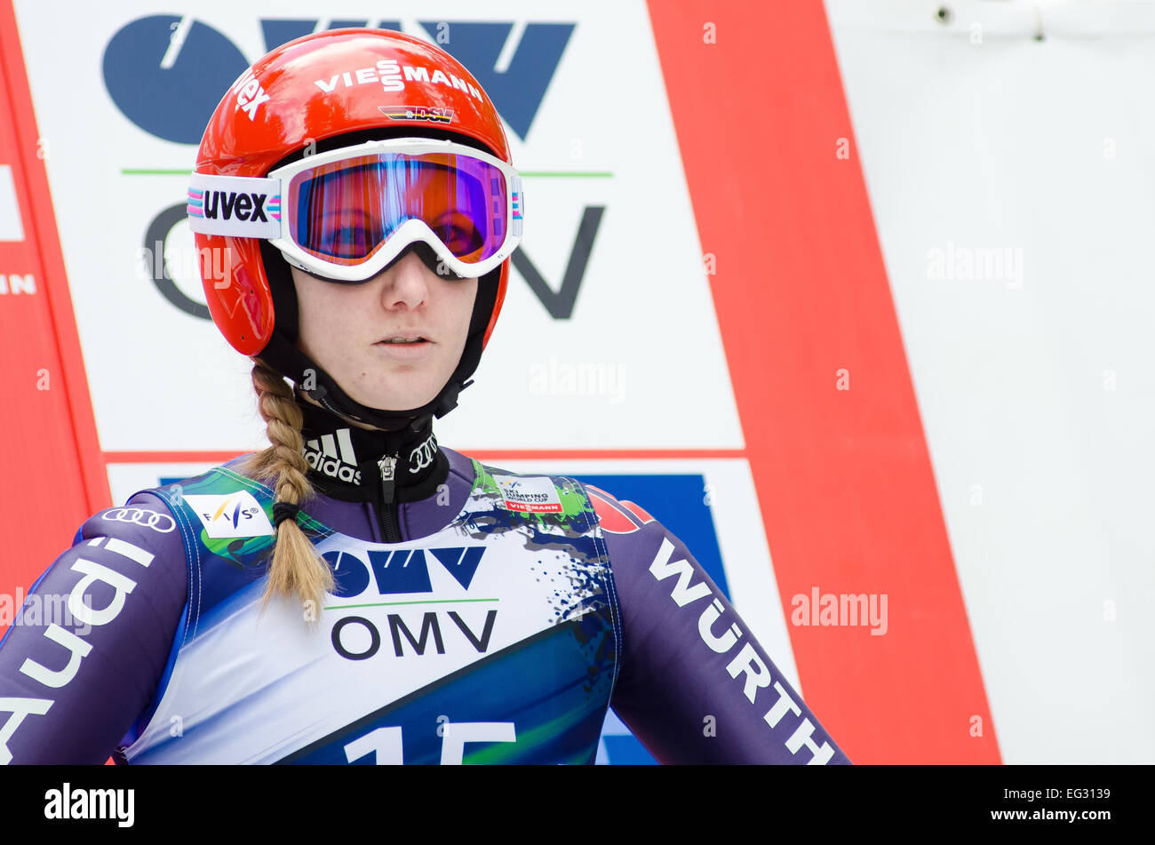 Slovenia. 14th Feb, 2015. Svenja Wuerth (GER) at the Ljubno FIS World Cup Ladies Ski Jumping. Credit:  Rok Rakun/Pacific - Stock Image