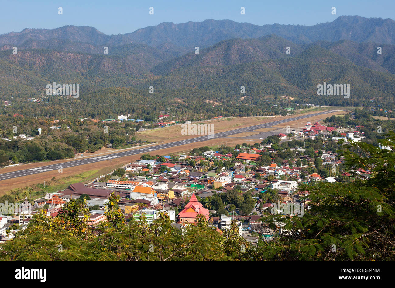 The City of Mae Hong Son, Northern Thailand - Stock Image