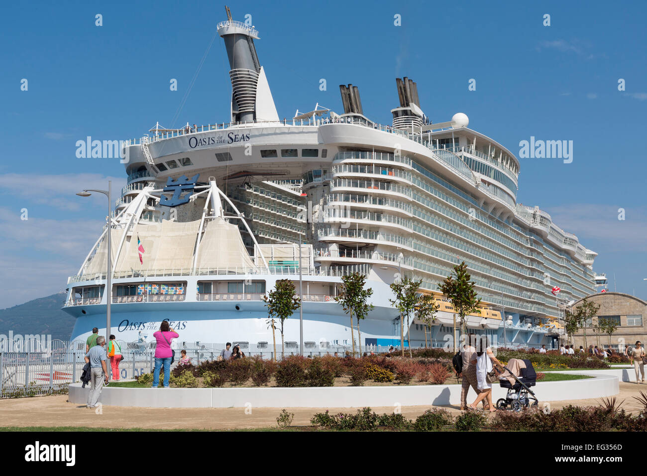 Oasis of the Seas at Vigo during her 2014-visit in Europe. - Stock Image