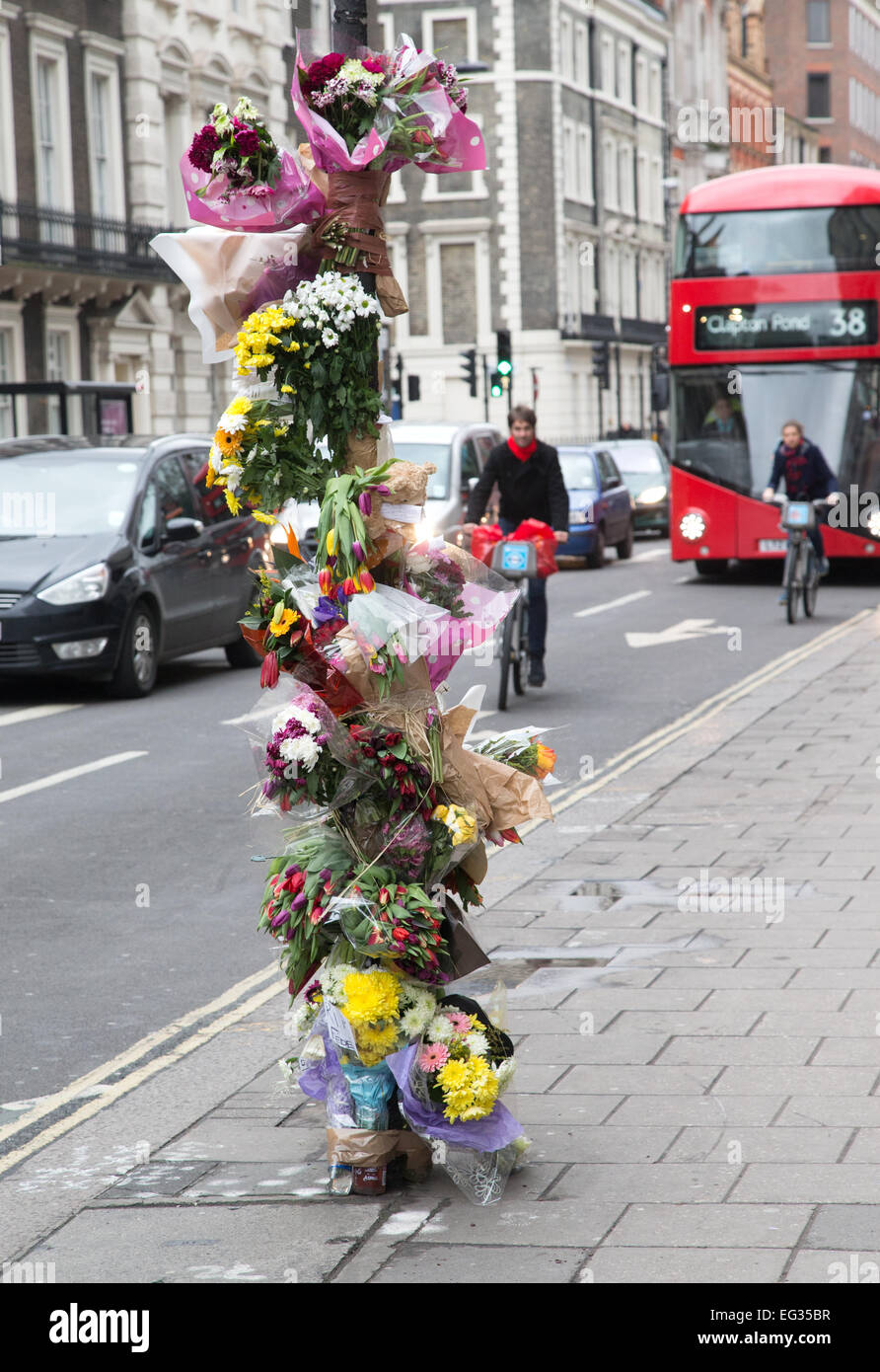 Floral Tributes to cyclist killed by a lorry in central London - Stock Image