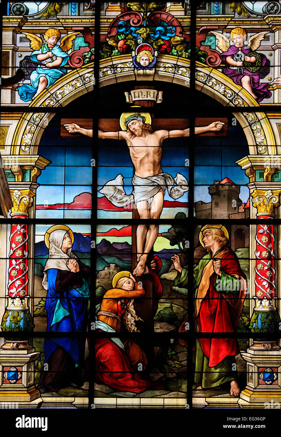 Beautiful stained glass window created by F. Zettler (1878-1911) at the German Church (St. Gertrude's church) in Stock Photo