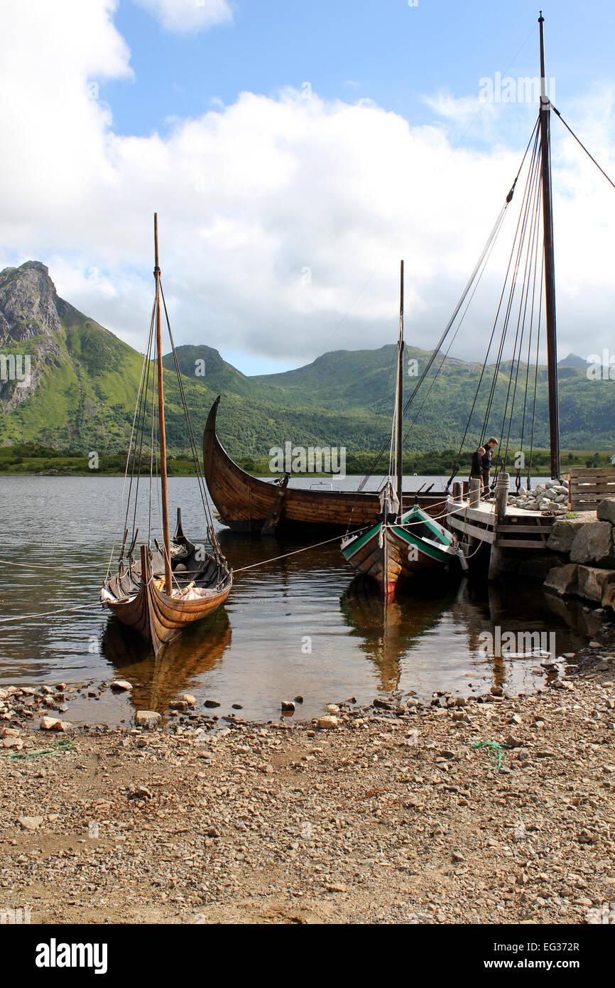Restored Viking ships in Borg, Vestvågøy, Lofoten, Norway - Stock Image