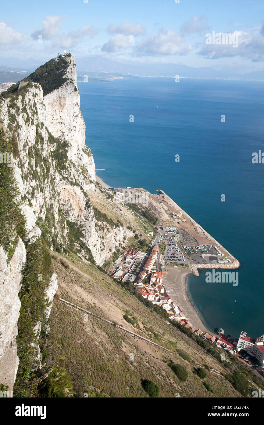 Sheer white rock mountainside the Rock of Gibraltar, British territory in southern Europe - Stock Image