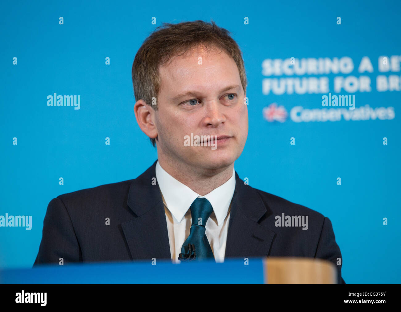 Grant Schapps Chairman of the Conservative party gives a press conference - Stock Image