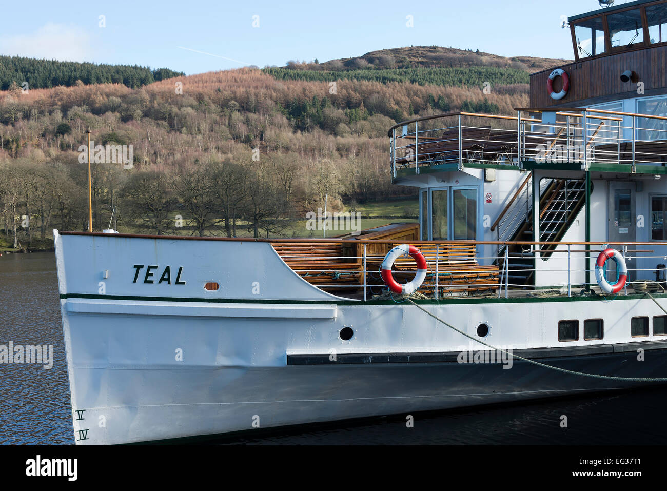 The Passenger Steamship Teal Moored at Quayside at Lakeside on Lake Windermere Cumbria England United Kingdom UK - Stock Image