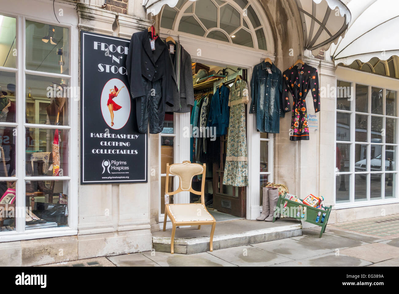 Hospice Charity Shop Clothes Collectables Haberdashery Burgate Canterbury UK - Stock Image