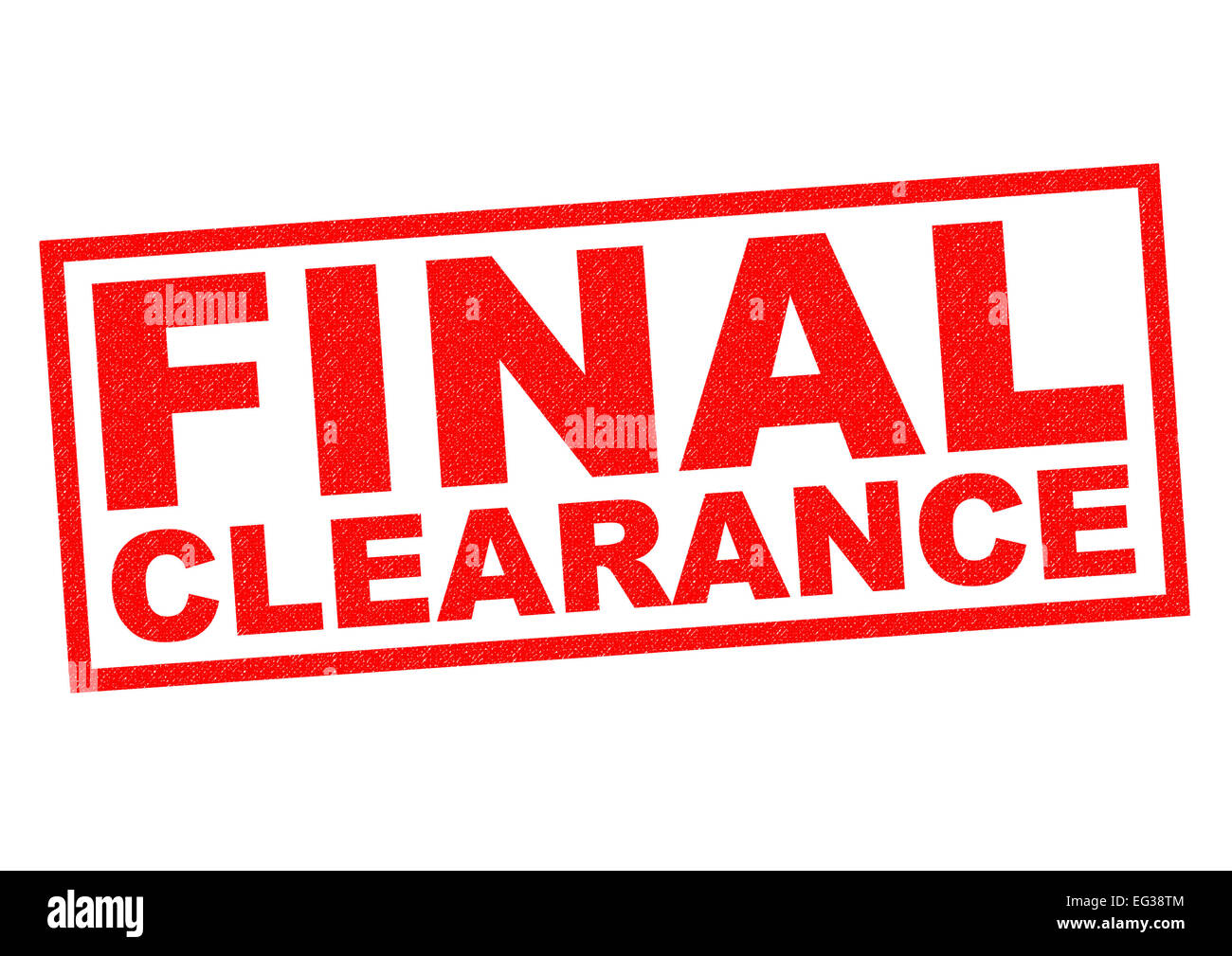 FINAL CLEARANCE red Rubber Stamp over a white background. - Stock Image