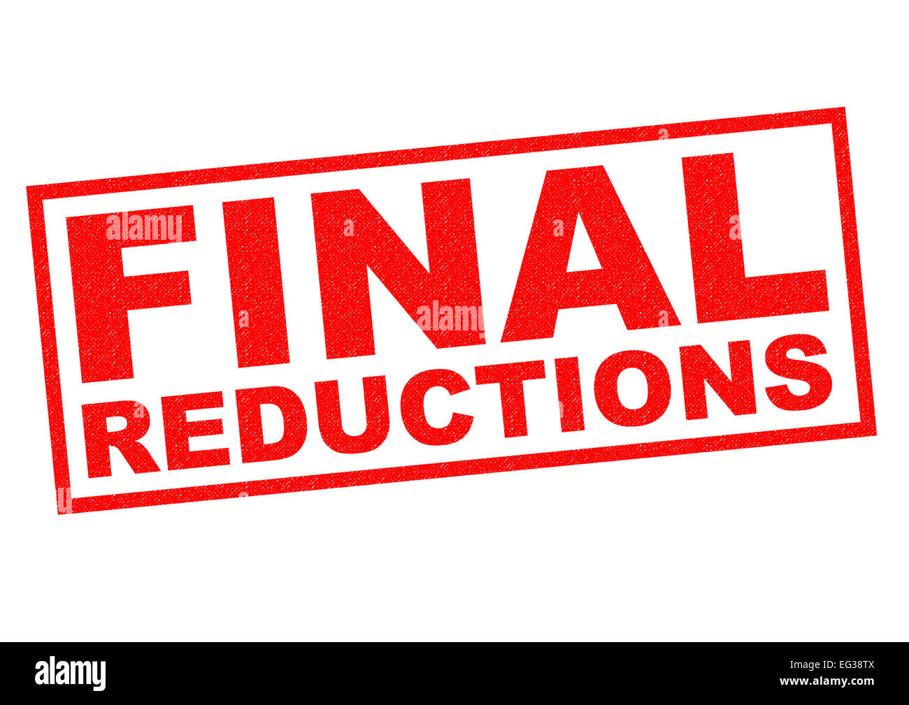 FINAL REDUCTIONS red Rubber Stamp over a white background. - Stock Image