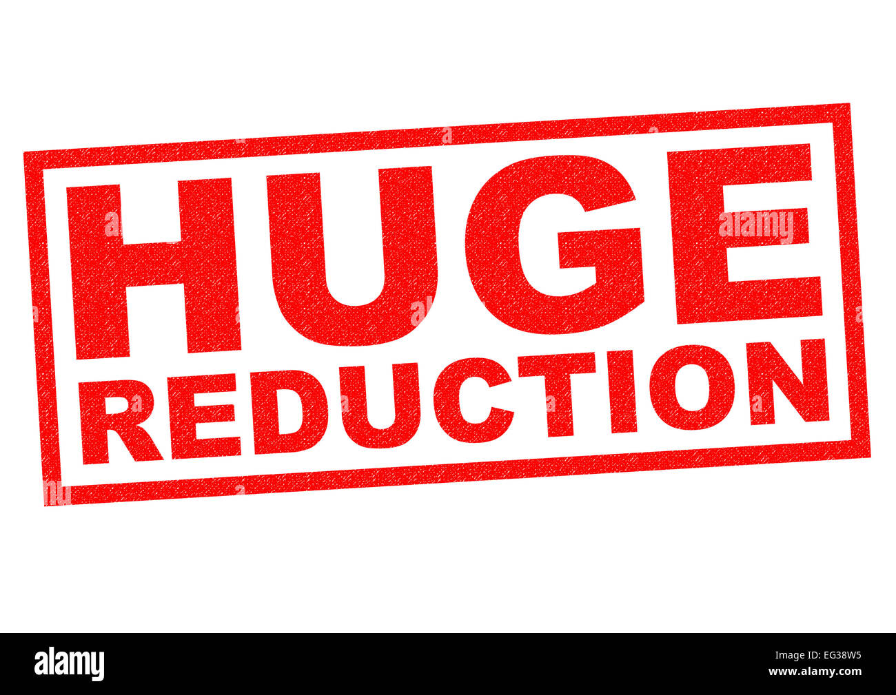 HUGE REDUCTION red Rubber Stamp over a white background. - Stock Image