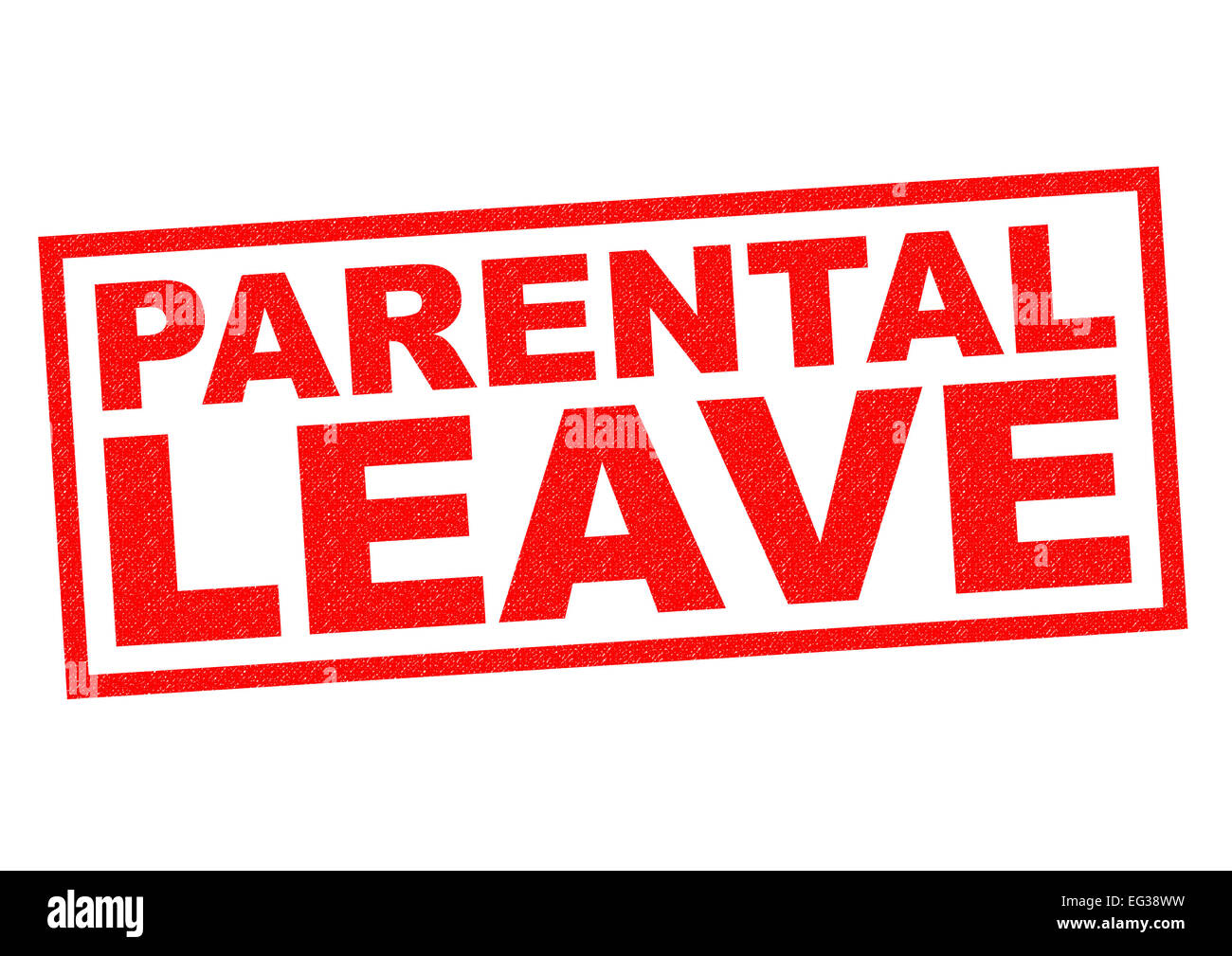 PARENTAL LEAVE red Rubber Stamp over a white background. - Stock Image