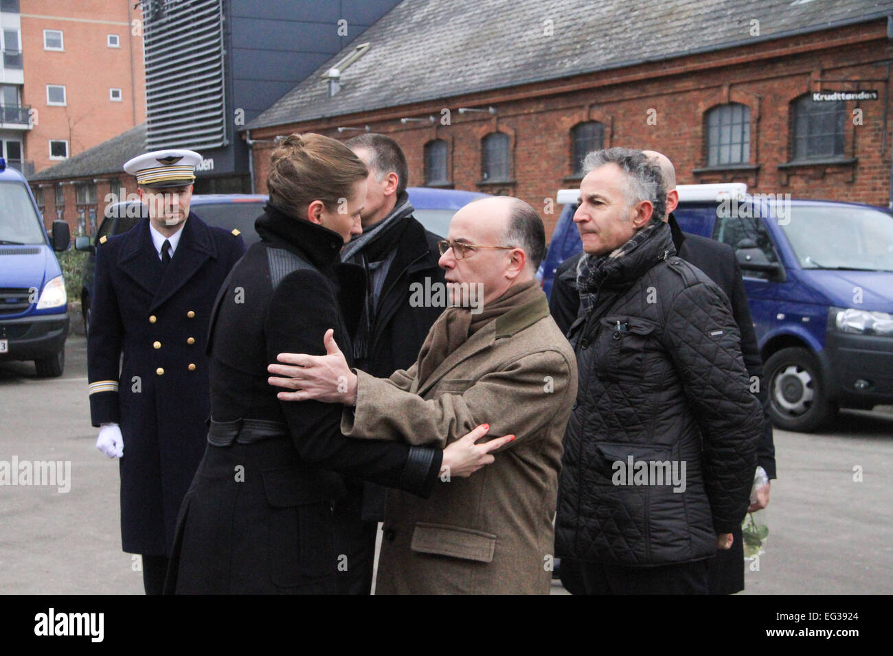 (150215) -- COPENHAGEN, Feb. 15, 2015 (Xinhua) -- Danish Minister of Justice Mette Frederiksen (L front) meets with - Stock Image