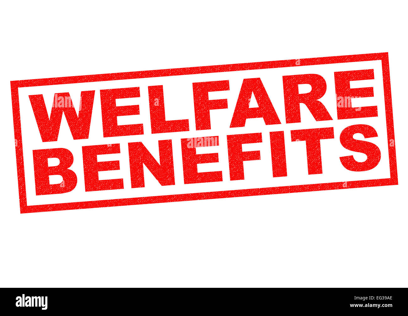 WELFARE BENEFITS red Rubber Stamp over a white background. Stock Photo