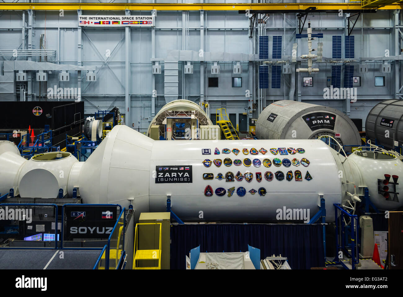Simulator of the Russian Soyuz module on the International Space Station. NASA Johnson Space Center, Houston, Texas, - Stock Image