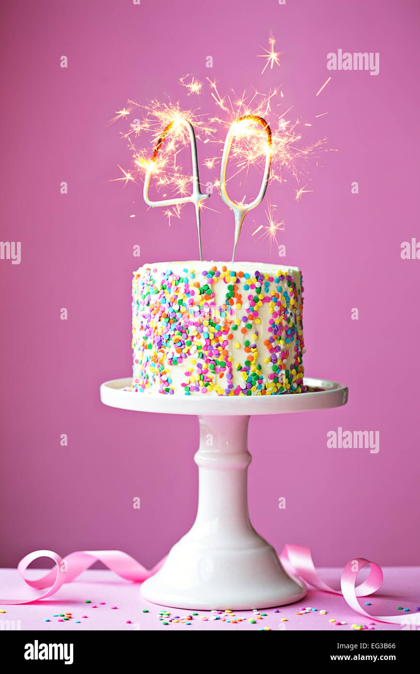 40th Birthday Cake Candles Stock Photos 40th Birthday Cake Candles
